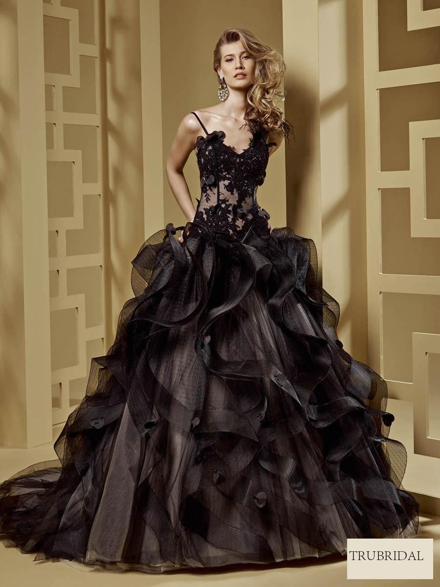 Black Organza Wedding Dress