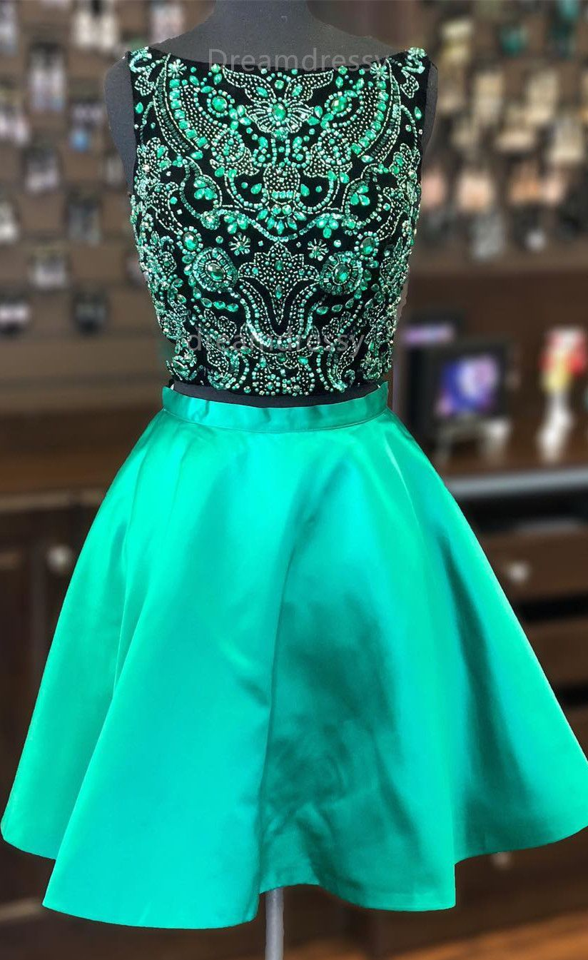 Luxurious beaded two piece short green homecoming dress dresses