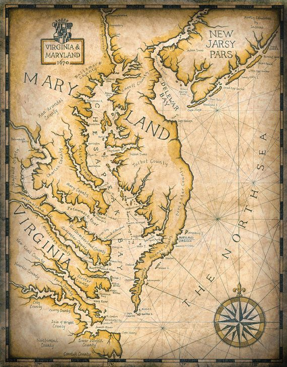 Chesapeake Bay Map Artwork c. 1670, 11\
