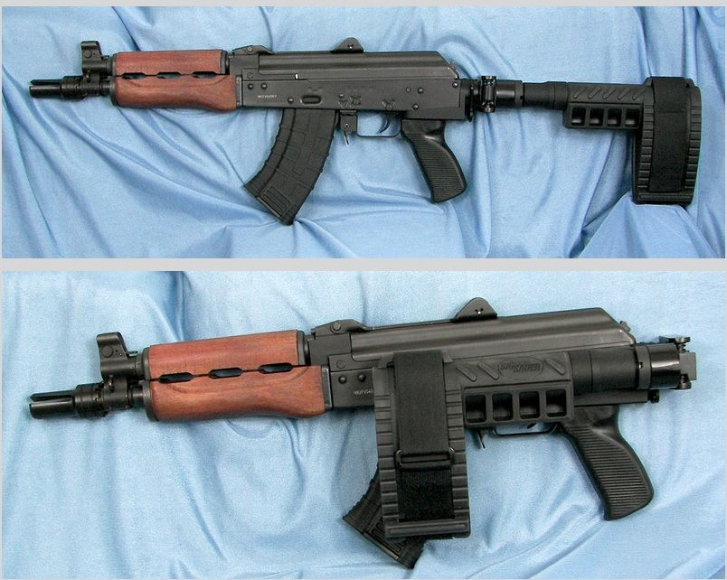 AK-47 Krink style with SBX pistol brace and folding adapter | Pistol