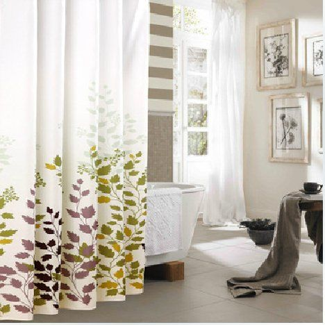 Eforgift X Inch Printed Leaves Waterproof Non Mildew Shower Curtains Polyester Fabric Bathroom Curtain With Free Rings Beige And Coffee Home Garden Decor
