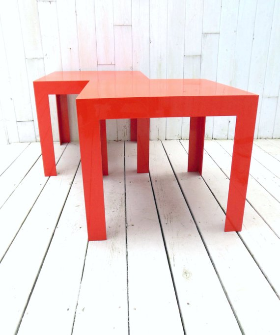 Syroco Parsons Tables Orange Op Art Plastic Pair 1960s