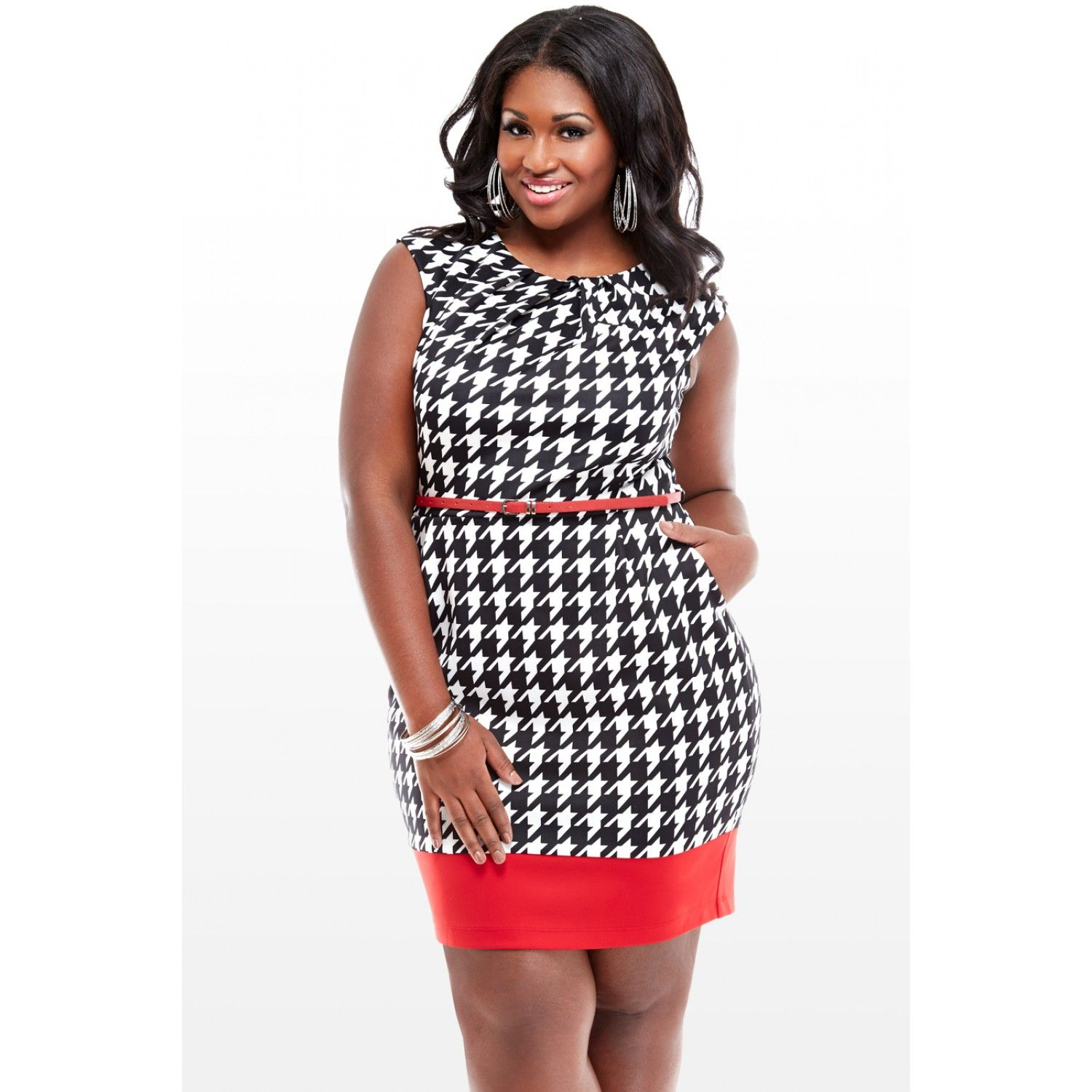 Houndstooth Belted Dress from Fashion To Figure
