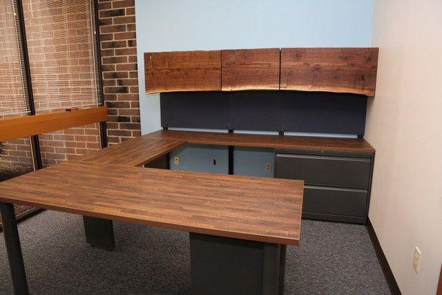 Custom U Shaped Office Desk W Reclaimed Walnut Overhead Doors Executive Desk Big Desk U Shaped U Shaped Office Desk Industrial Office Furniture Big Desk