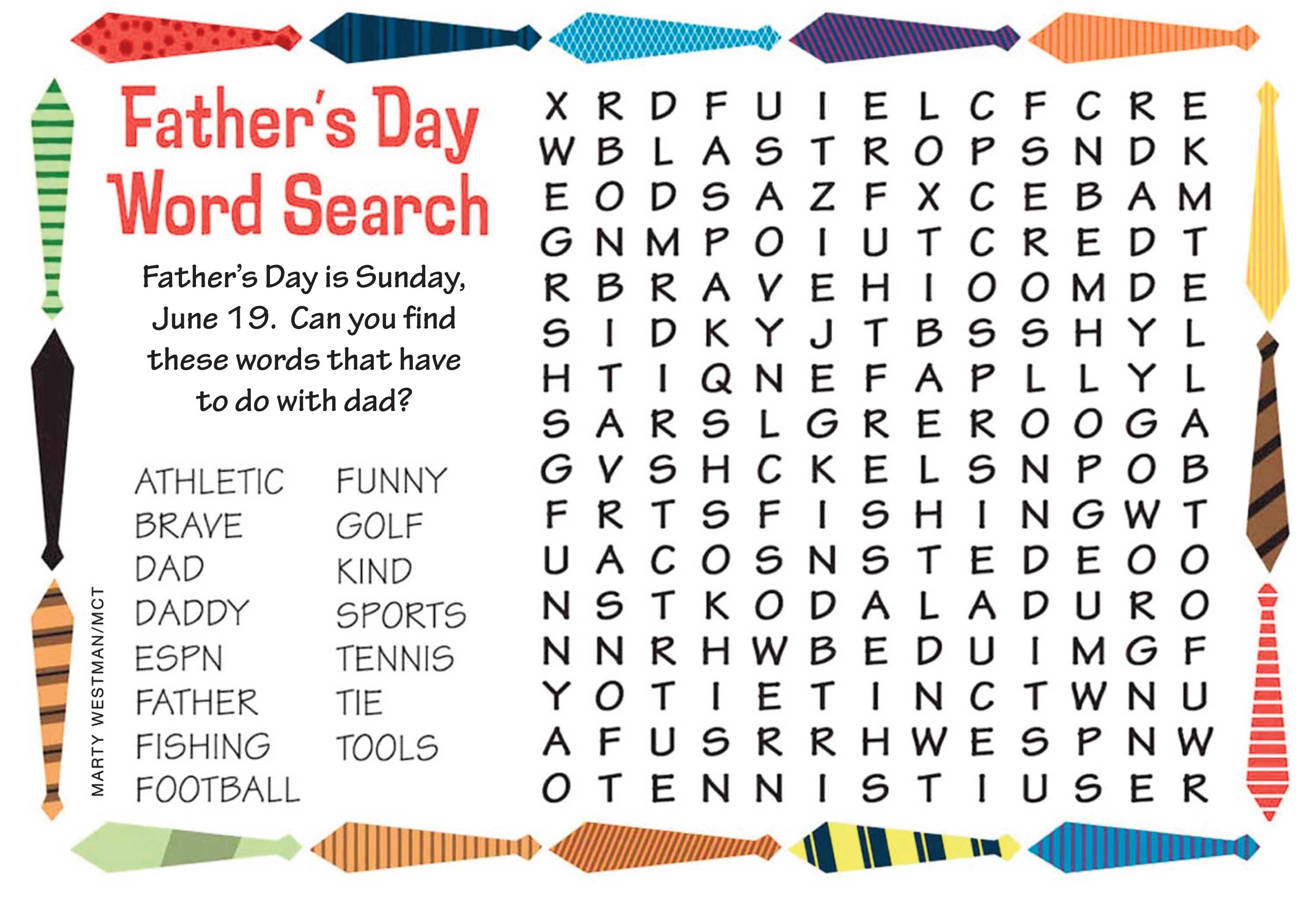 Father S Day Father S Day Words Kids Word Search Happy Fathers Day