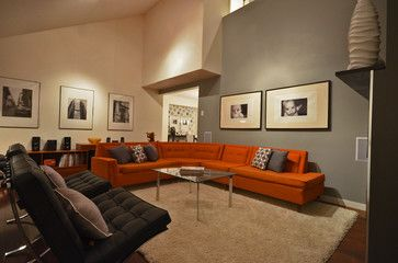 Grey White Orange Living Room Interior Design For Small In India Off Tan Dining Walls And With Burnt