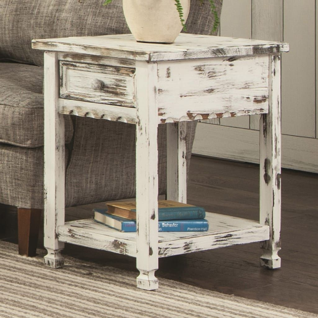 Alaterre Furniture Country Cottage Distressed End Table, White