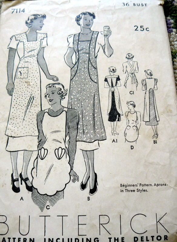 LOVELY VTG 1930s APRONS BUTTERICK Sewing Pattern BUST 36