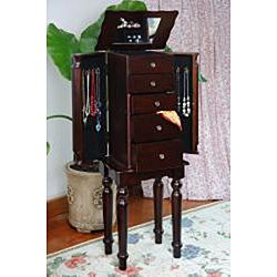 @Overstock.com - Classy Style Espresso Jewelry Armoire Chest - Organize your jewelry collection in style with this wooden jewelry armoire. This chest has four drawers to provide lots of room for rings, bracelets, necklaces, and more. The top of this lovely piece holds a handy mirror for checking your look.    http://www.overstock.com/Home-Garden/Classy-Style-Espresso-Jewelry-Armoire-Chest/6840336/product.html?CID=214117  $129.99