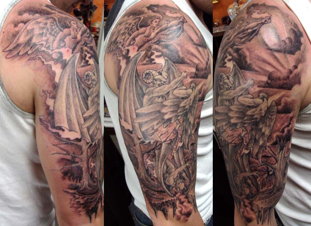 Jason-Image detail for -angel vs demon round two | tattoo ...