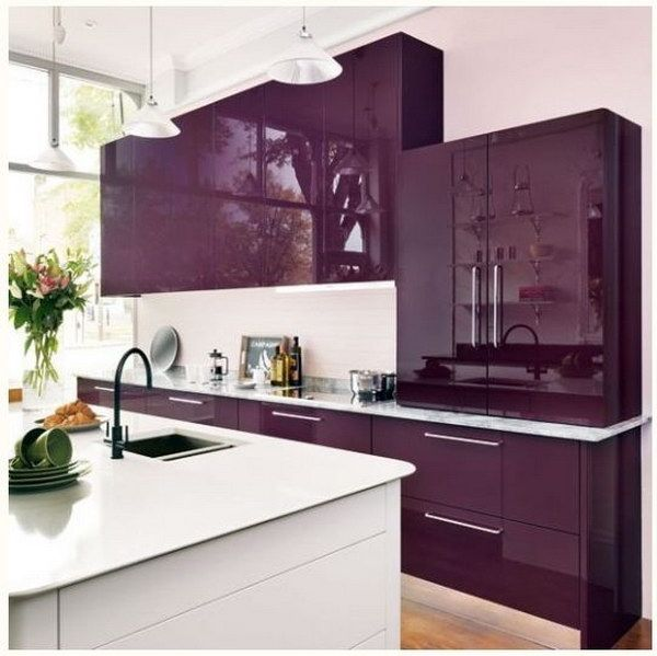 Modern Kitchen With Royal Purple Cabinets Modern Kitchen Colours Kitchen Cabinets Color Combination Purple Kitchen Cabinets