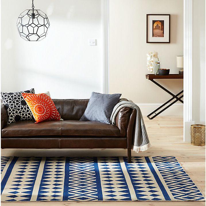Buy John Lewis Modasa Rug Indigo White John Lewis Living Room Floor Plans Rugs Interior Design Living Room