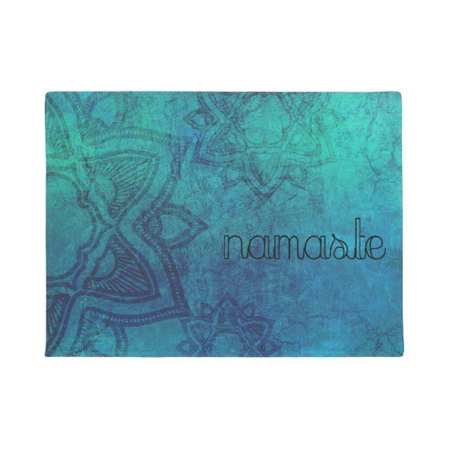 Namaste Distressed Turquoise Mandala Door Mat #spirituality #namaste #turquoise #hindu #yoga #yoga #...