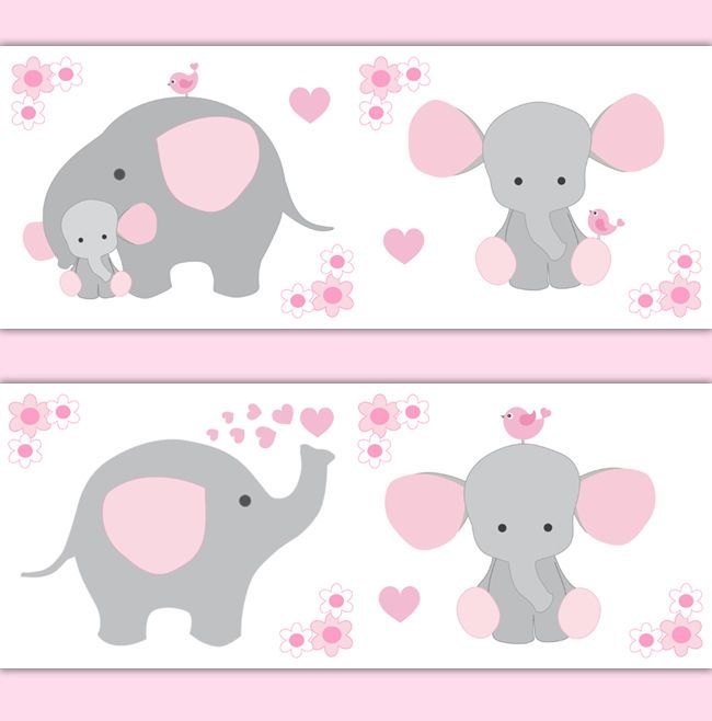 Pink Grey Elephant Nursery Baby Girl Wallpaper Border Wall
