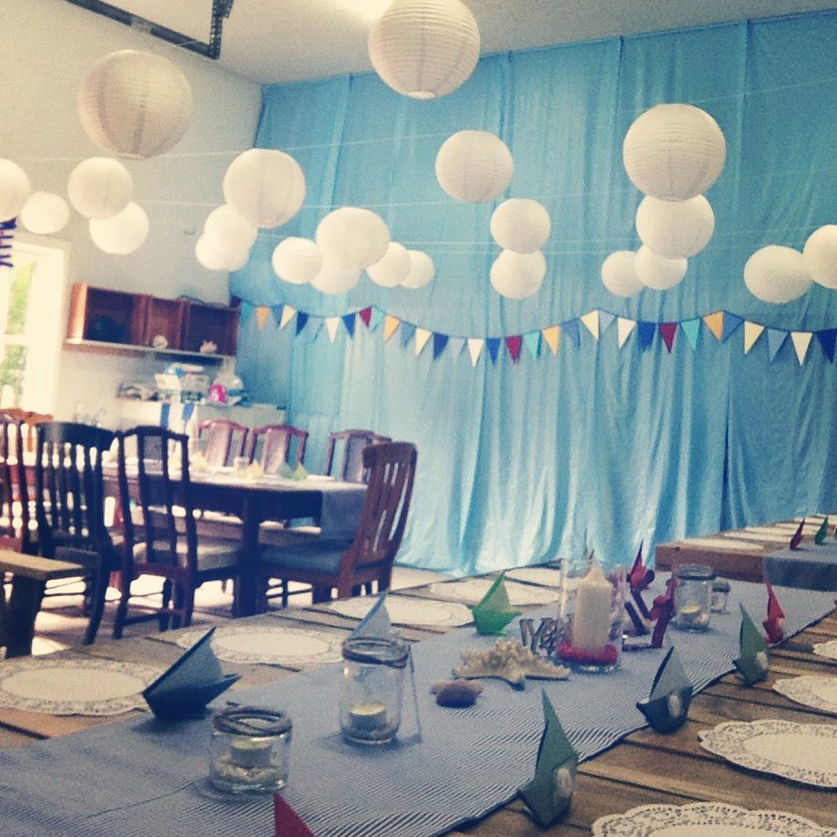 Garage Decorated For Party: Nautical Baby Shower. Perfect Decoration For A Garage