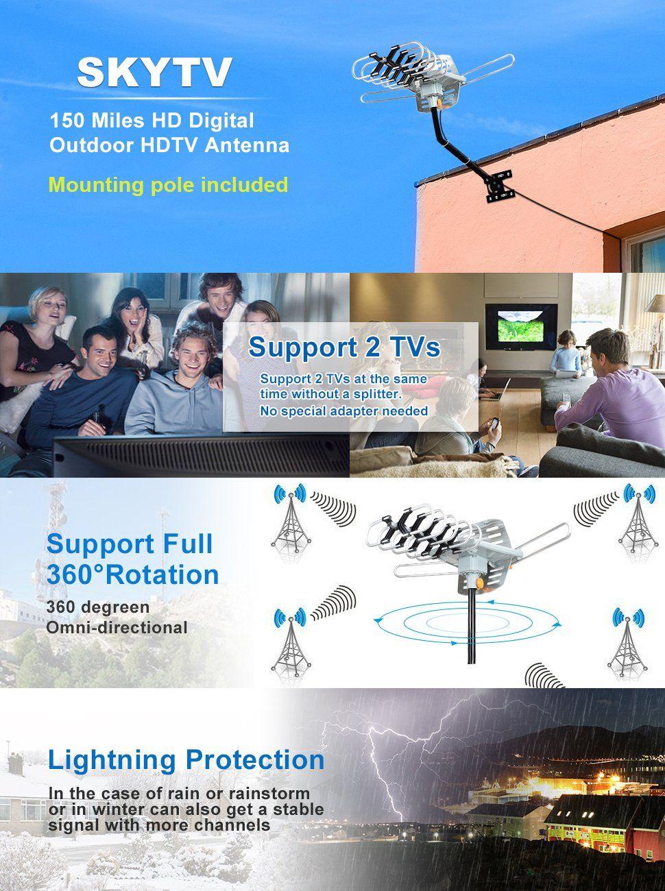 Amazon Com Hdtv Antenna Skytv Amplified Digital Tv Antenna 150 Miles Range 360 Rotation Outdoor Digital Outdoor Hdtv Antenna Digital Hdtv Antenna Digital Tv