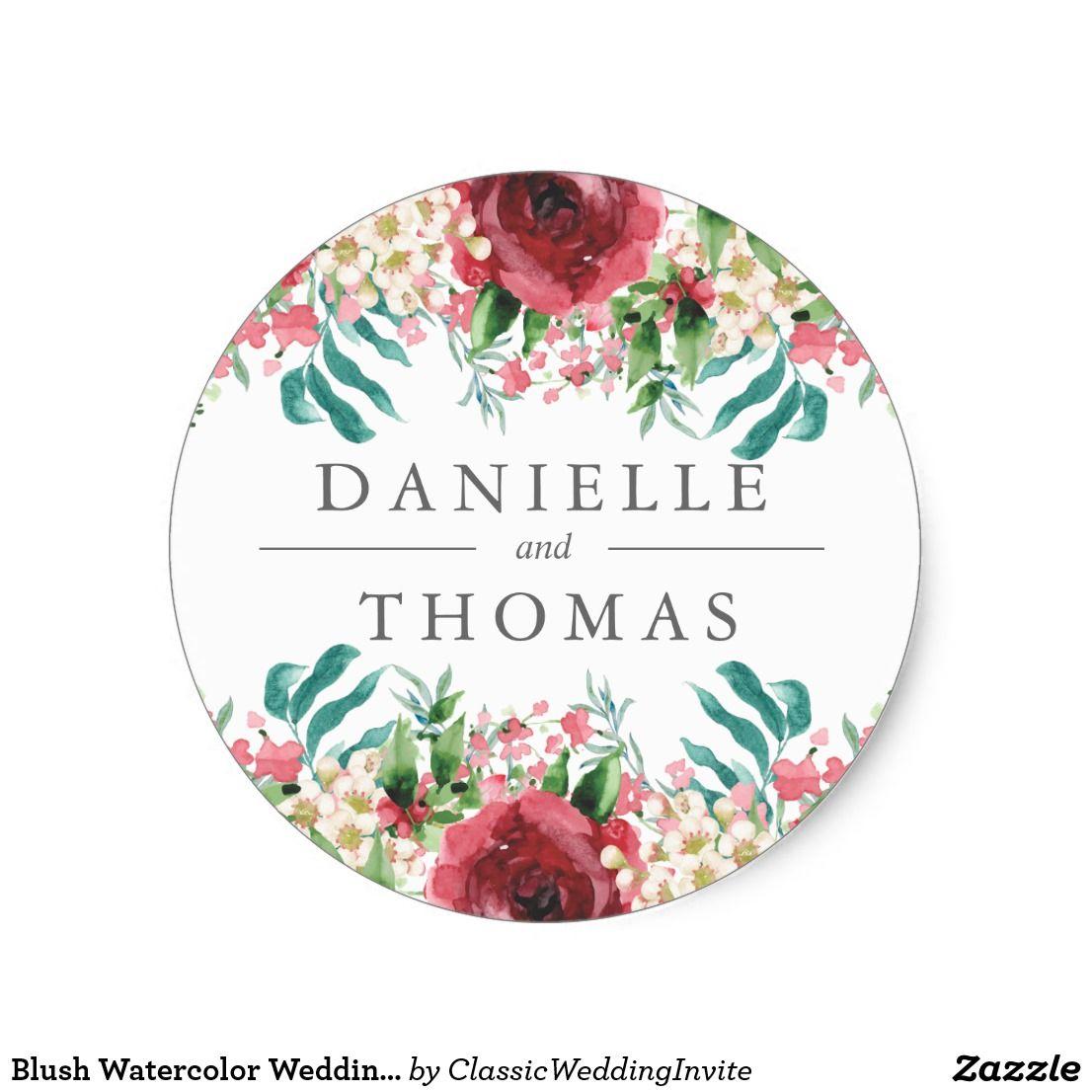 Blush Watercolor Wedding Invitation Sticker