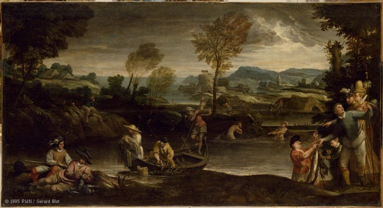 Hunting And Fishing Louvre Museum Paris Castle Painting Landscape Paintings Annibale Carracci