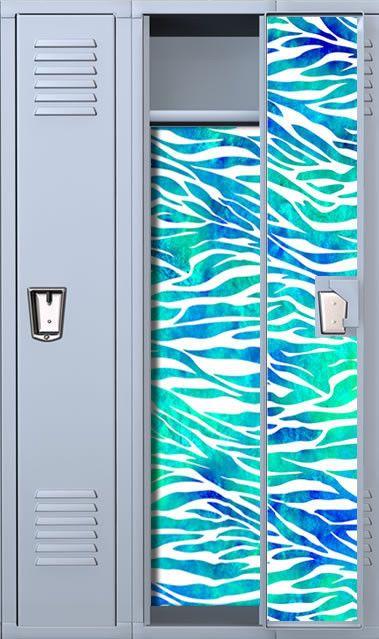 Zebra Print Teal Watercolor Magnetic Full Length School Locker Wallpaper Set