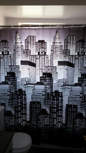 My shower curtain, I love it and at nigt when the light shines in the window it looks like a city at night, so cool!