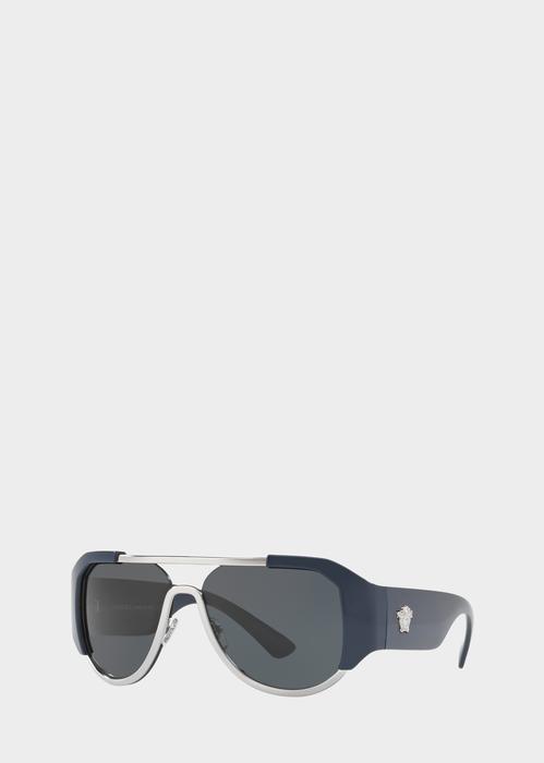 9a61e160890e Versace Navy Shield Sunglasses for Men | US Online Store. Navy Shield  Sunglasses from Versace Men's Collection. Pilot shaped visor style  sunglasses, ...