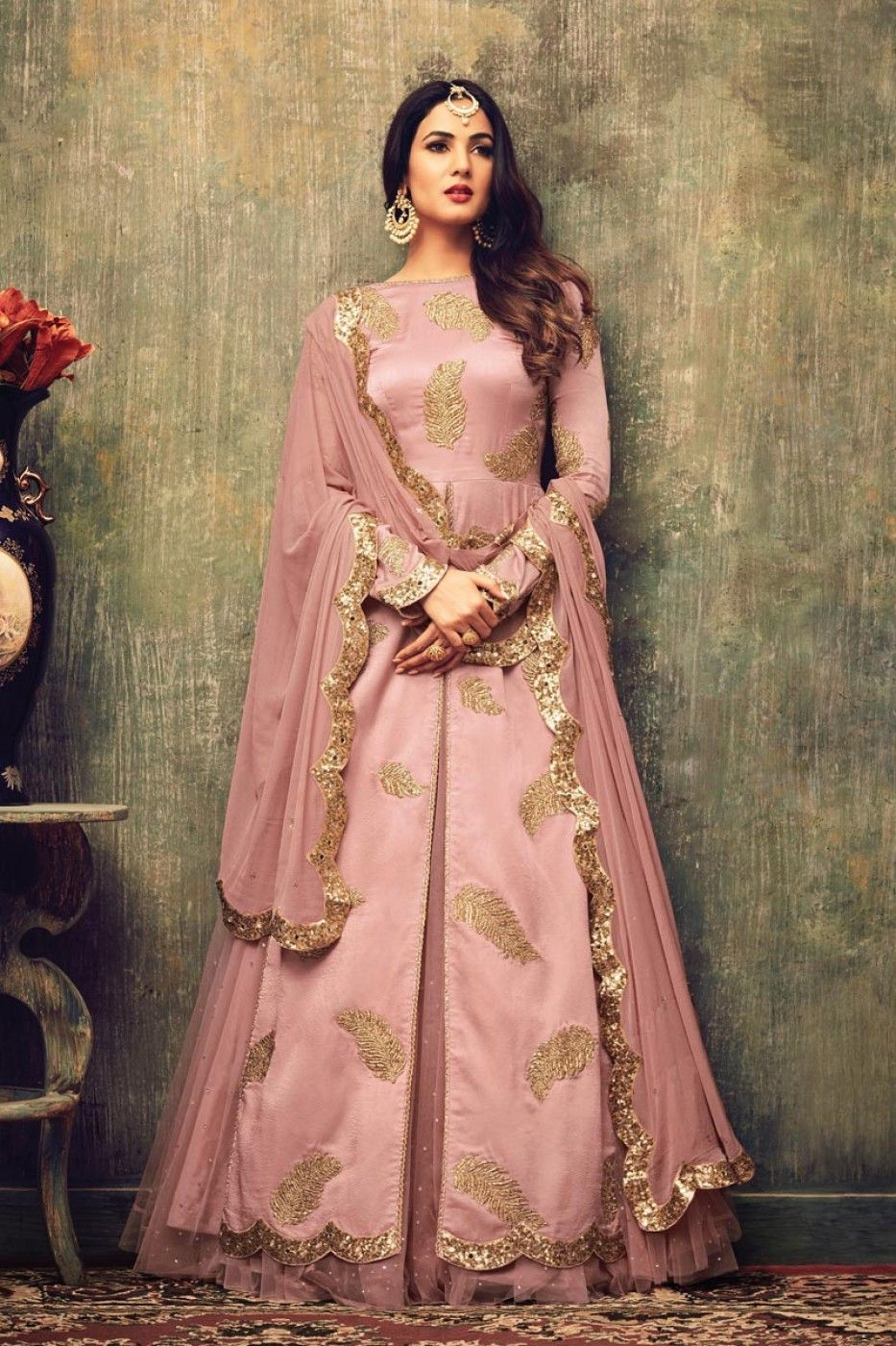 bd7f8a3497 Stunning Pink Color Designer Embroidered Net Fabric Salwar Kameez ...