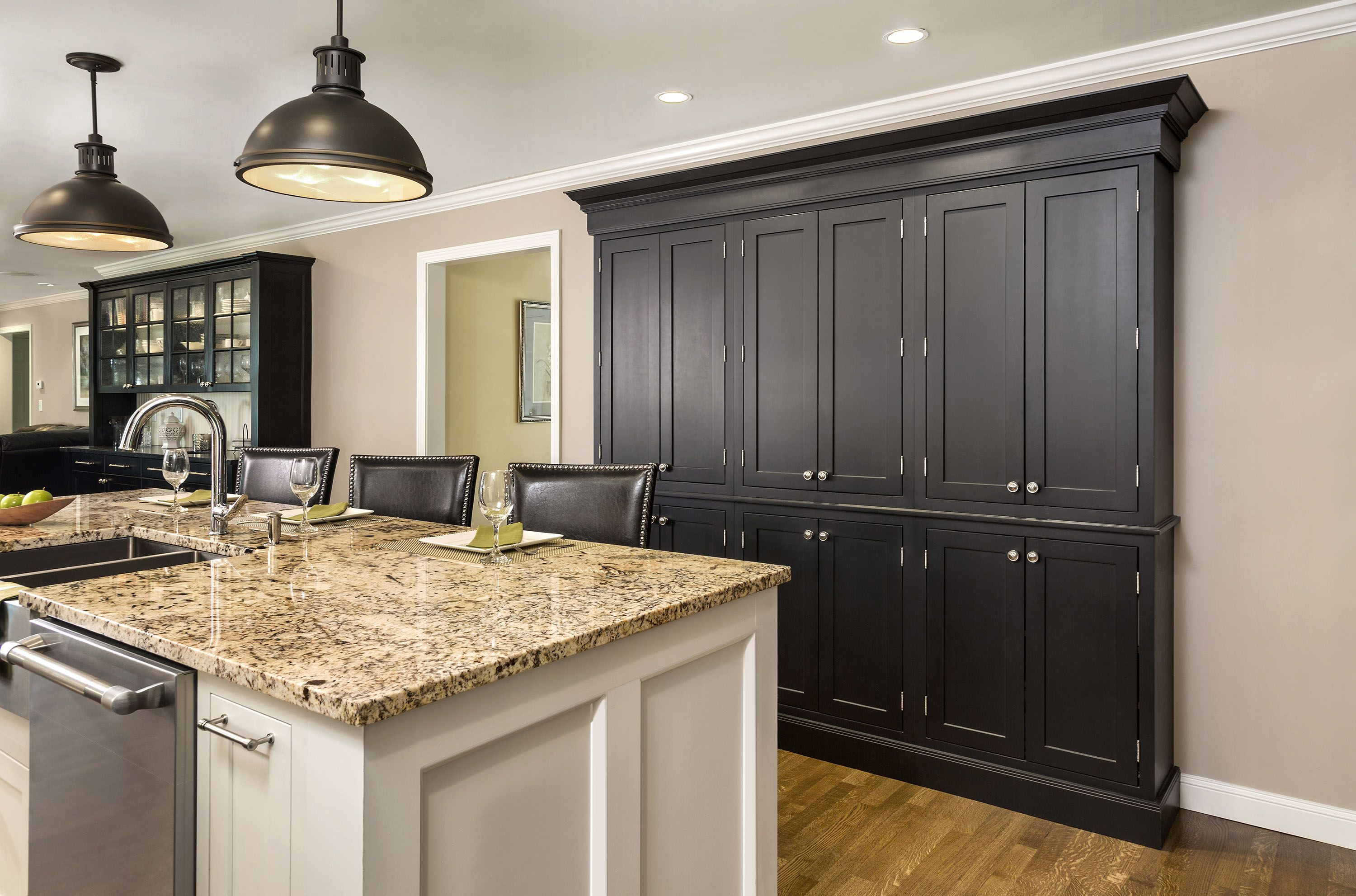 Classic Black And White Kitchen Cabinets With Tall Pantry And Expansive Island Shown In Cliqstudios Austin Inset Do Built In Pantry Pantry Wall Shallow Pantry