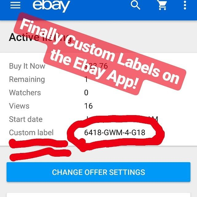 Super excited that Ebay has custom labels showing on each item in