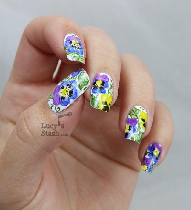 Watercolour Aquarelle Nail Art Pansy Violet Flowers Lucy S Stash Purple Nail Art Floral Nails Nail Art Summer