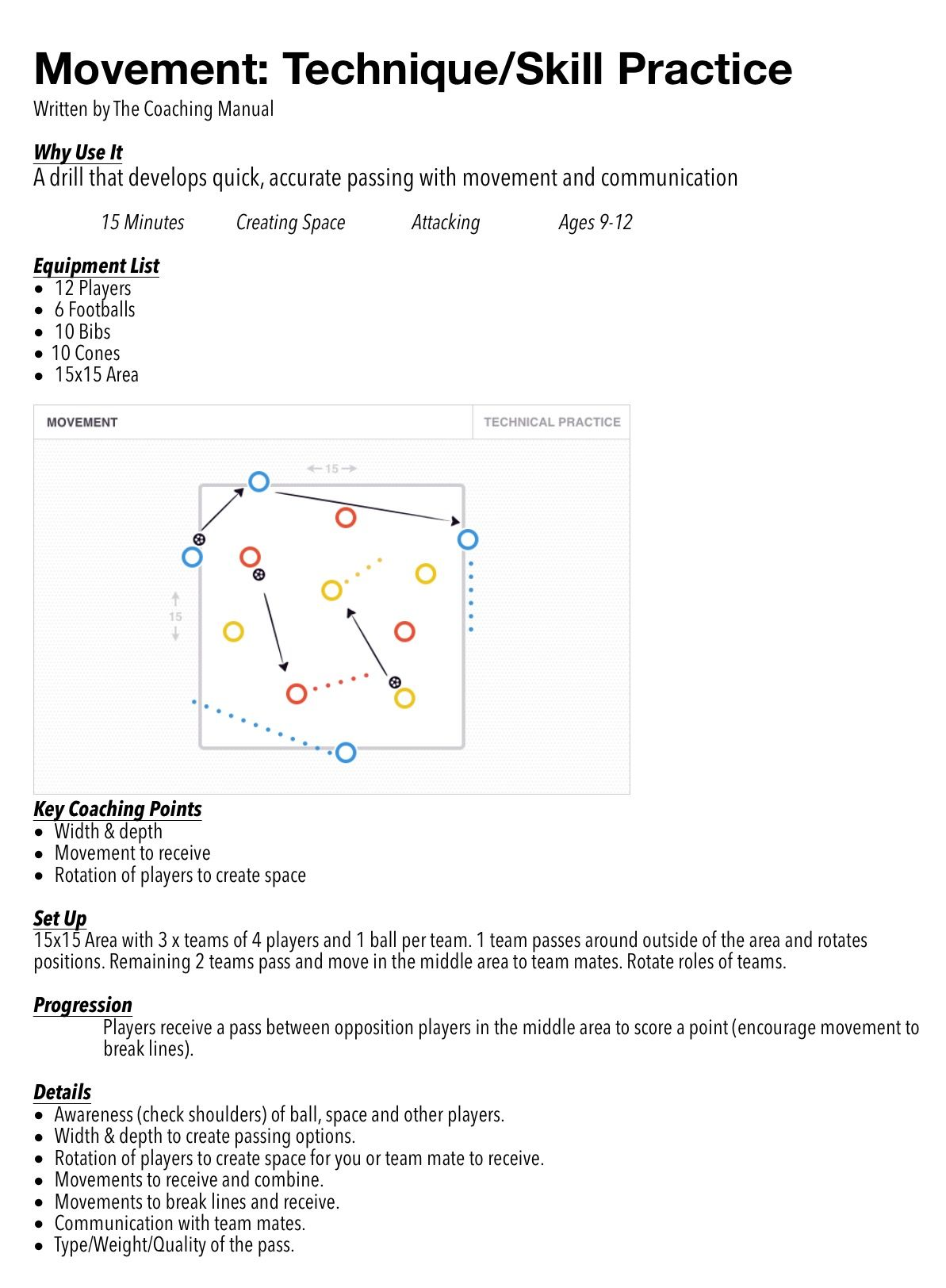 Movement Technique Skill Practice Thecoachingmanual Com Soccer Training Drills Skills Practice Soccer Training