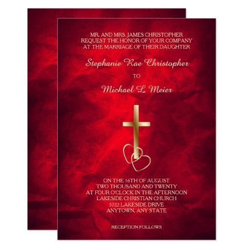 red gold christian cross wedding invitation  zazzle