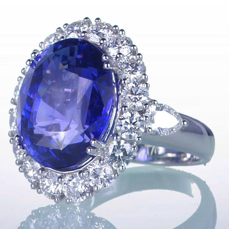 Royal Ceylon Sapphire and Diamond Ring