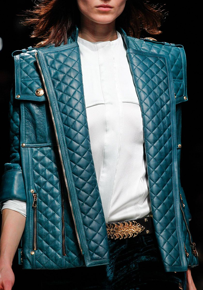 Balmain | Quilted leather bliss, dazzling teal blue, and gilded regal hardware yields a Cirque du Insane jacket.