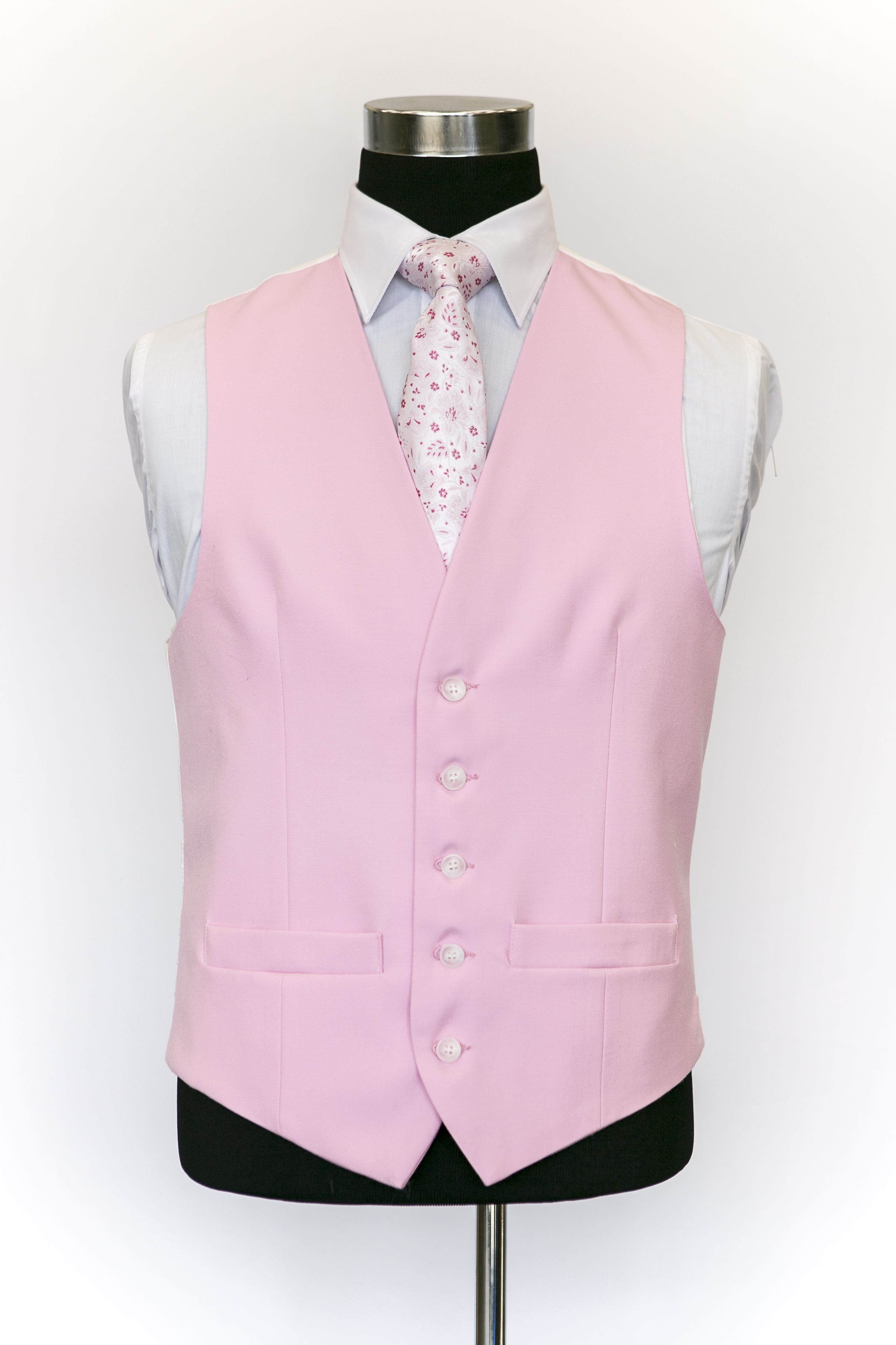 Pink Single Breasted Wool Waistcoat with Pink Floral Tie | MIS ...