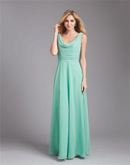 A Line Cowl Neck Deep V Back Long Mint Green Chiffon Wedding Guest Bridesmaid Dress