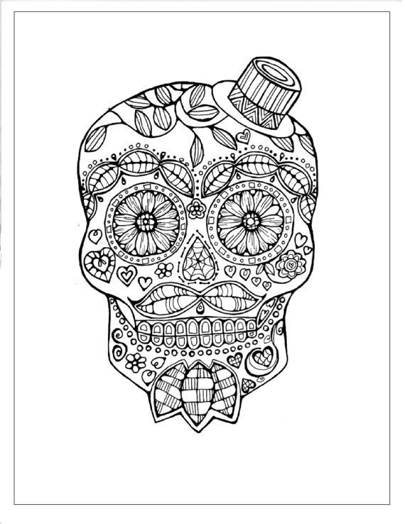 Sugar Skull Coloring Page to Print