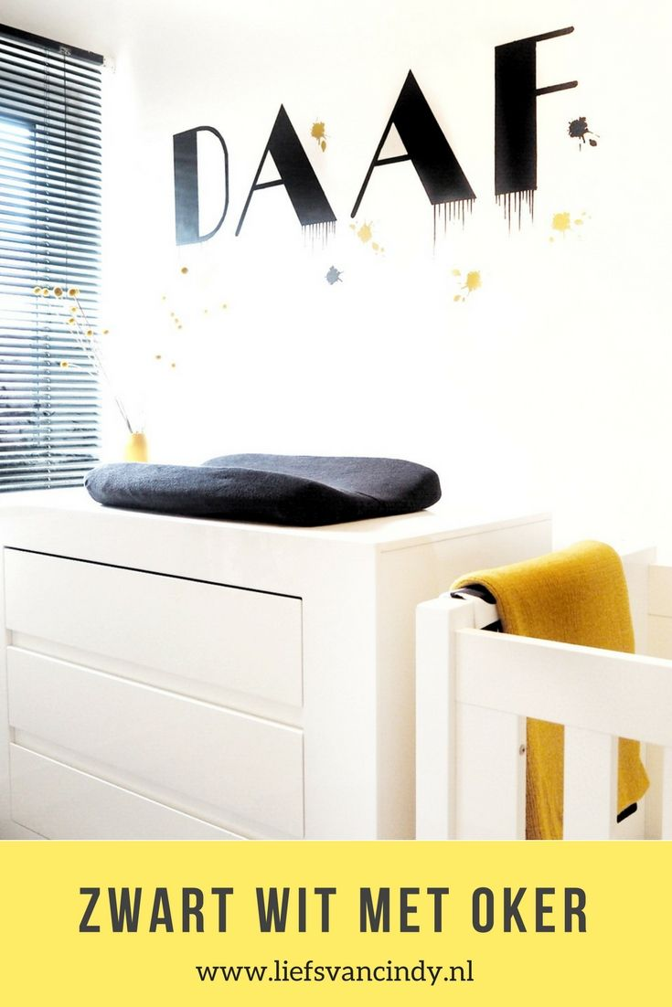 Naamstickers Muur Babykamer.Kinderkamer Inspiratie Zwart Wit En Okergeel Babykamer Met