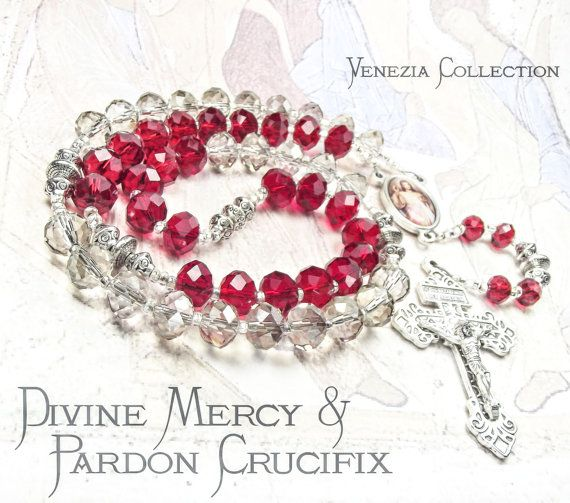 DIVINE MERCY Rosary Chaplet with Ruby Red and Silver por tiggawild