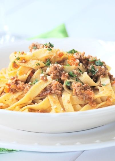 Low FODMAP Recipe and Gluten Free Recipe - Bolognese with tagliatelle - http://www.ibs-health.com/bolognese_tagliatelle.html