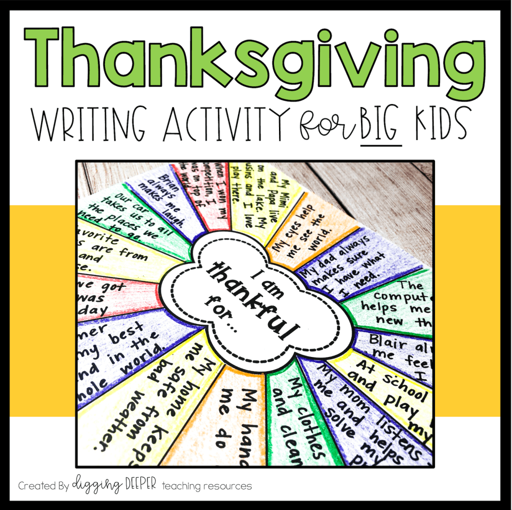 Thanksgiving Writing Activity For Big Kids