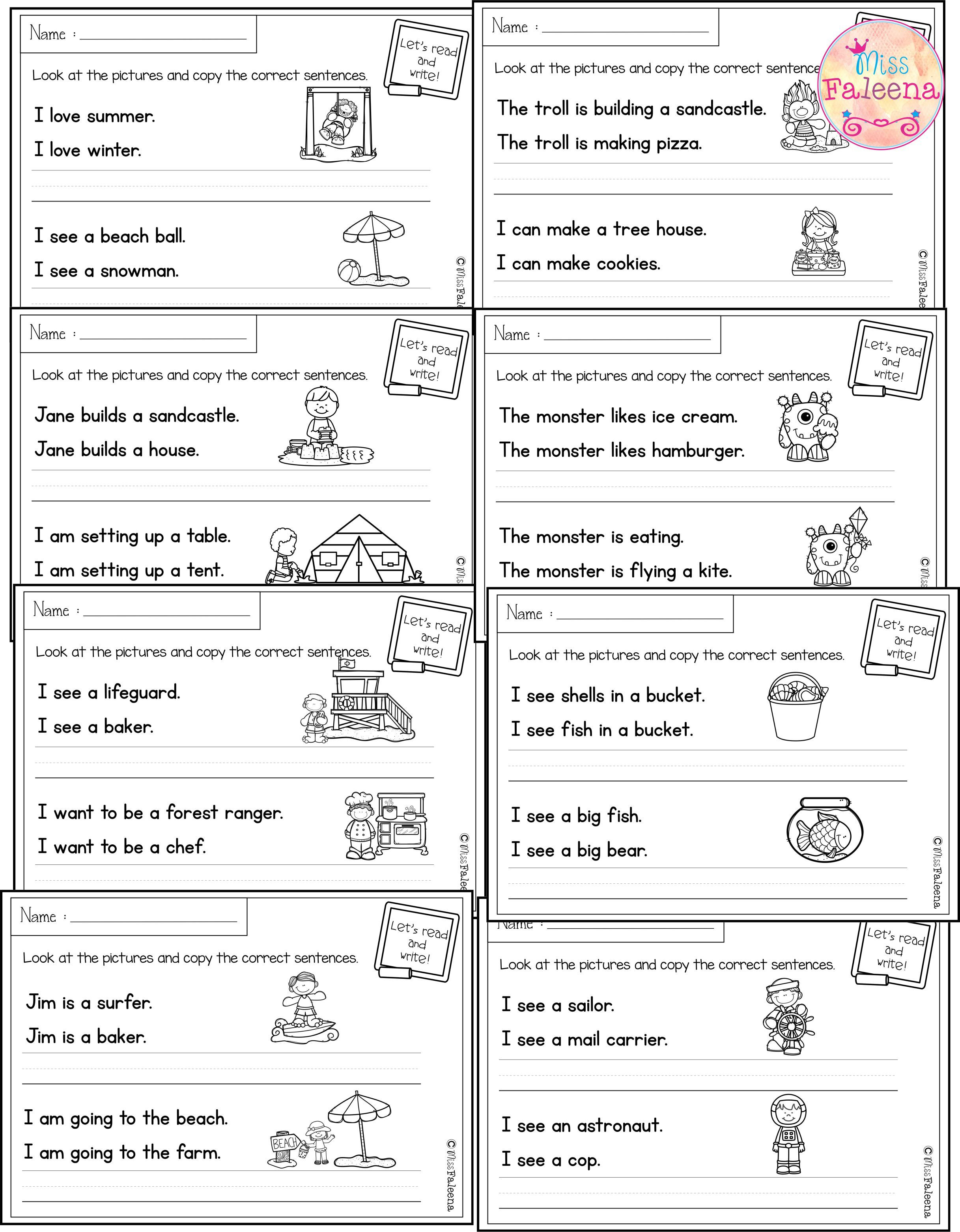 There Are 20 Pages Of Sentence Writing Worksheets In This Product These Pages Are Great For Pre K Kin Sentence Writing Writing Worksheets Sentence Correction