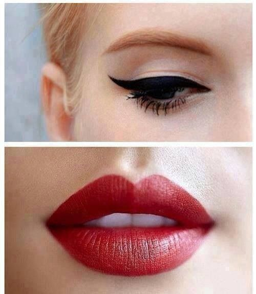Cat-eye and red lip. Classic combo