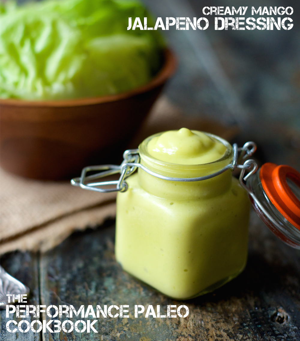 A delicious Paleo Mango Jalapeño Dressing Recipe, perfect for topping your favorite greens, fish tacos or even as a dip for chicken!