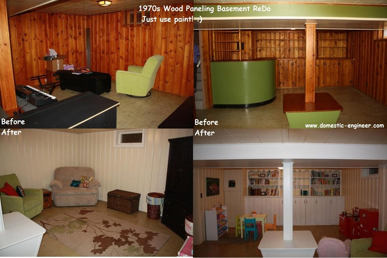 Before and after basement painting half wall wood for Paneling makeover ideas