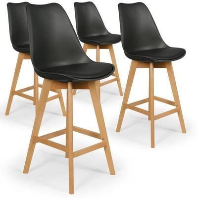 lot de 4 chaises hautes style scandinave catherina noir. Black Bedroom Furniture Sets. Home Design Ideas