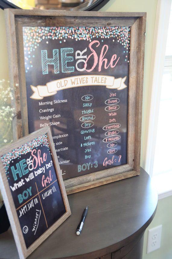 Gender Reveal Old Wives Tales Printable Chalkboard Poster Diy