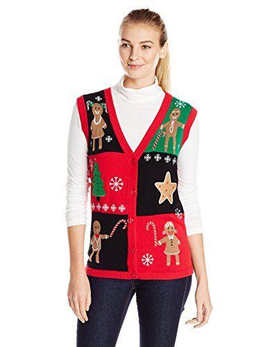 Isabella\u0027s Closet Women\u0027s Gingerbread Ugly Christmas Sweater Vest