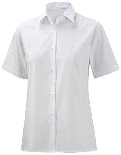 School Uniform Girls Ladies Collared Short Sleeve Blouse Office Formal Shirt