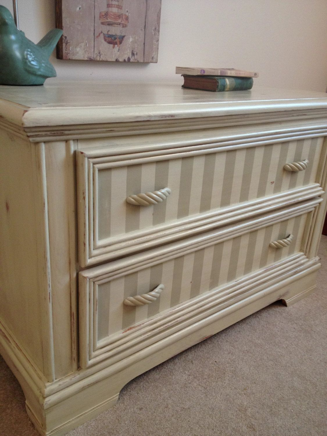 french distressed furniture. Chic Cream Dresser Chest- French Country, Shabby Chic, Rustic, Distressed, Painted Furniture - Love The Stripes! Distressed W