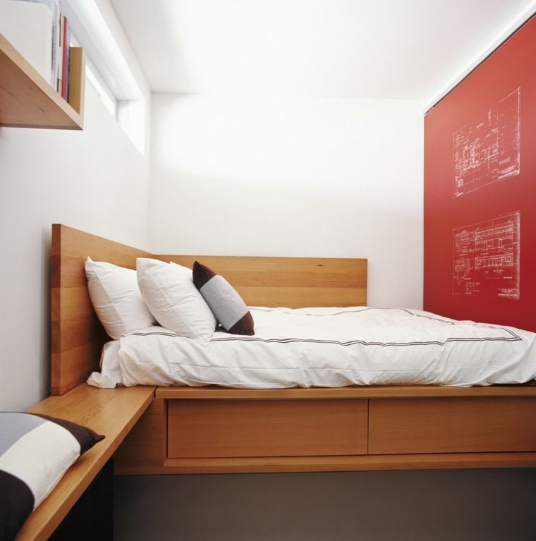 lit plateforme rangement idee  small bedroom layout bed